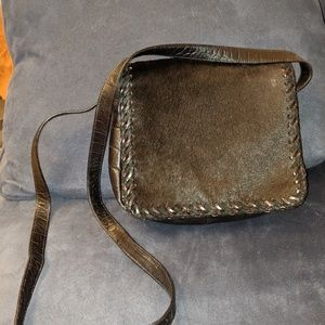 Sharif calf skin and embossed leather crossbody